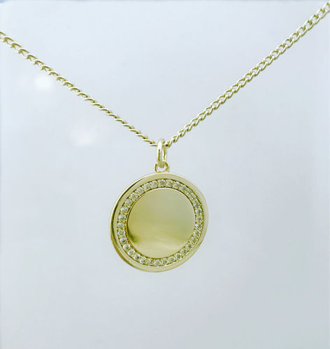Gold Plated Diamante Circle Pendant