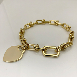 Gold Plated Chain Bracelet with Heart Charm